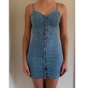 Blue Button Detail Stretch Denim Dress